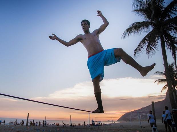 Marcello está treinando uma das modalidades mais radicais do esporte (Foto: Raphael Dias/Gshow)