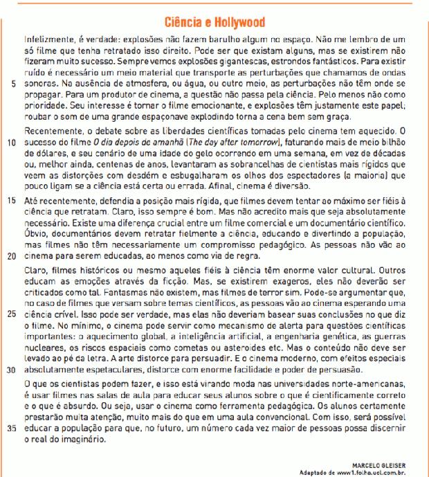 Texto Ciência e Hollywood, de Marcelo Gleiser (Foto: Reprodução/UERJ)