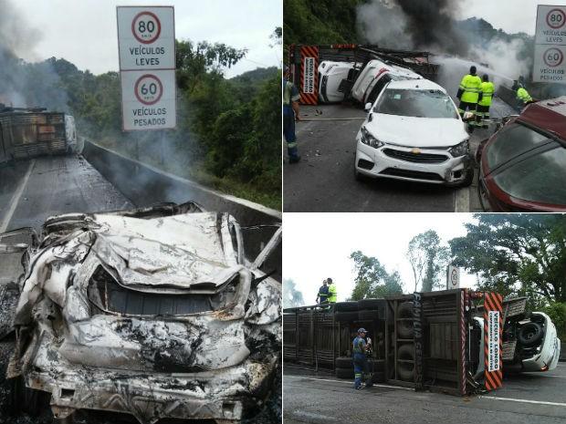 Carros eram levados pelo caminhão e pegaram fogo após o acidente (Foto: Divulgação/PRF)