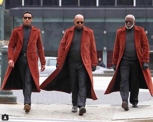Os atores Jessie T. Usher, Samuel L. Jackson e Richard Roundtree como as três gerações do 'clã' Shaft (Foto: Reprodução/Instagram)