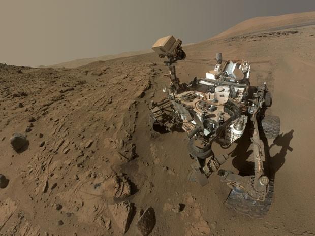 Foto divulgada pela NASA em 23 de junho mostra autorretrato do robô Curiosity em Marte (Foto: AP Photo/NASA, JPL-Caltech, MSSS, File)