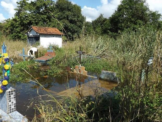 Água do Rio Mamoré chega a cemitério de Guajará-Mirim (Foto: Dayanne Saldanha/G1)