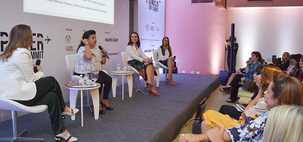 Luiza Helena Trajano (CEO Magazine Luiza), Andrea Natal (diretora Belmond Hotéis) e Adriana Cavalcanti (diretora Air France Brasil) falam sobre o papel feminino na chefia, sob mediação de Marina Caruso (Foto:   Liane Neves)