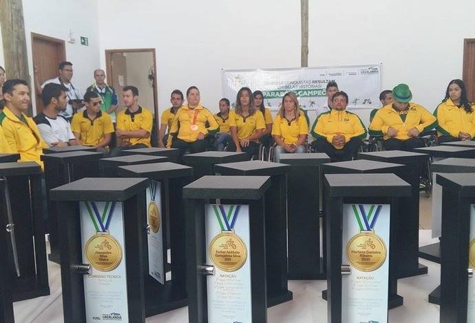 Para-atletas de Uberlândia são homenageados após 25 medalhas no Parapan (Foto: Caroline Aleixo)