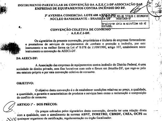 Documento elaborado para firmar acerto de empresários concorrentes do setor após reunião (Foto: Cade/Reprodução)
