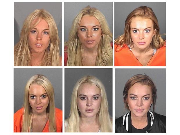 Fotos mostram Lindsay Lohan em momentos diferentes na prisão