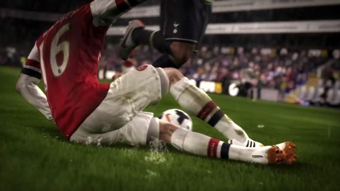 Em Fifa 15 o gramado poderá ser danificado, porém apenas como efeito visual (Foto: Reprodução: YouTube)