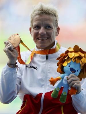 100m - T52 Final - Marieke Vervoort Bélgica paralimpíada rio 2016 pódio (Foto: Reuters)