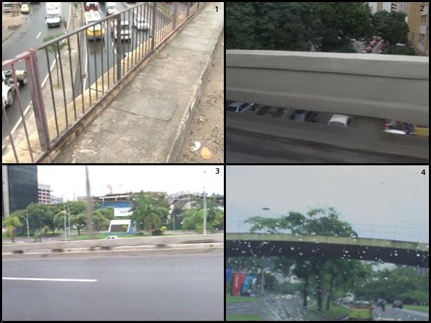 No viaduto do acidente na Avenida Brasil (1), a pior opção: gradil metálico. Em Botafogo (2) e no Centro (3), em frente a sede da Prefeitura, muretas são baixas. No Aterro do Flamengo (4), passarelas são risco para crianças. (Foto: Reprodução/Imagens do G1)