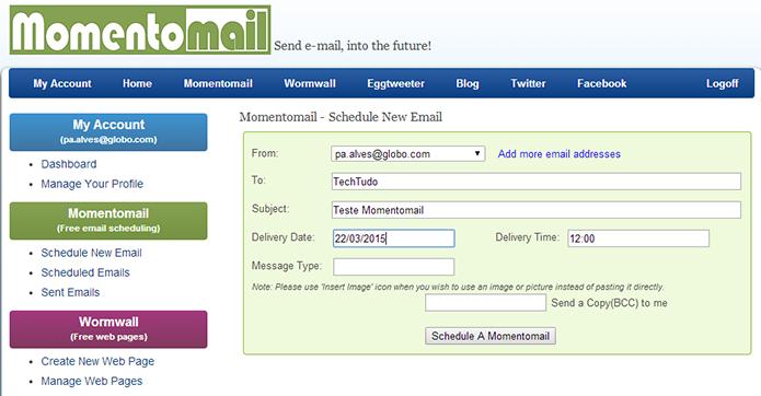 Momentomail é serviço de agendamento simples que funciona com Gmail e Yahoo Mail (Foto: Reprodução/Paulo Alves)
