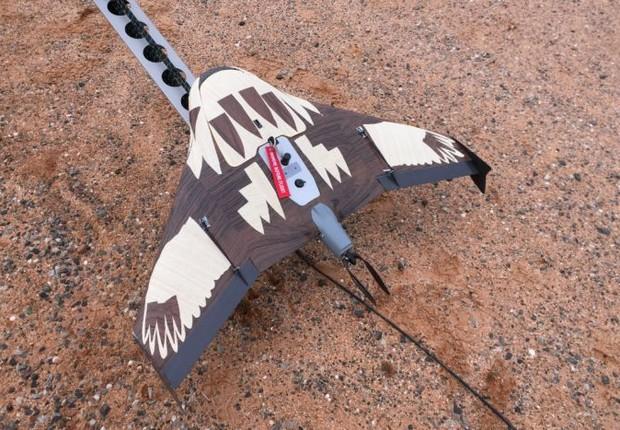 Drone camuflado: a equipe de Rick Steven tentou usar camuflagem em seu drone para protegê-lo do ataque águias (Foto: Reprodução/Facebook)