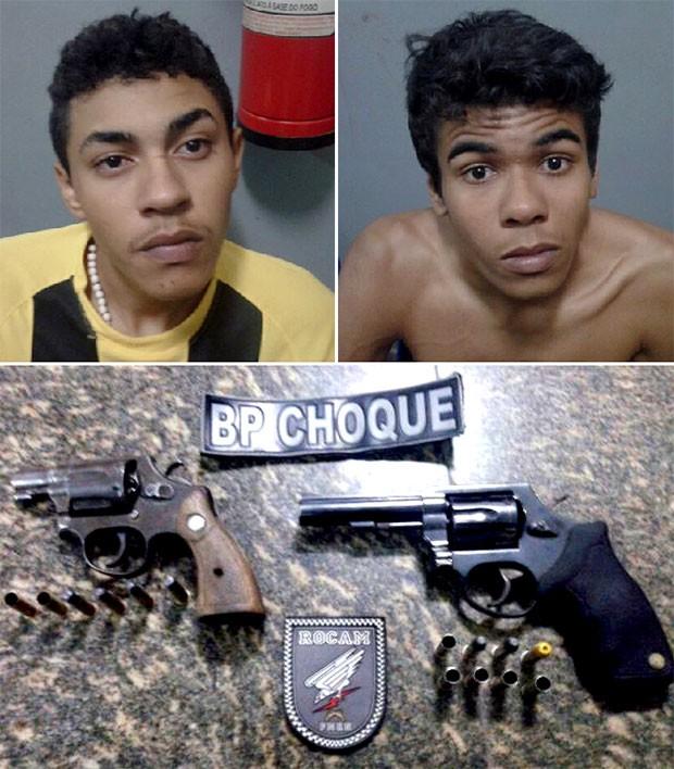 Irmãos Jansen Fernandes Lima, de 21 anos, e Joel Fernandes Lima, de 20 anos, foram presos; duas armas foram apreendidas  (Foto: Divulgação/Polícia Militar)