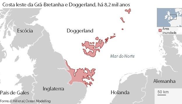 Doggerland, que um dia conectou a Grã-Bretanha à Europa continental, desapareceu após ser atingida por onda causada por delizamento de terra debaixo d'água (Foto: BBC)