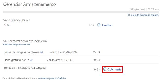 Espaço no OneDrive pode ser aumentado com indicação de amigos (Foto: Reprodução/OneDrive)