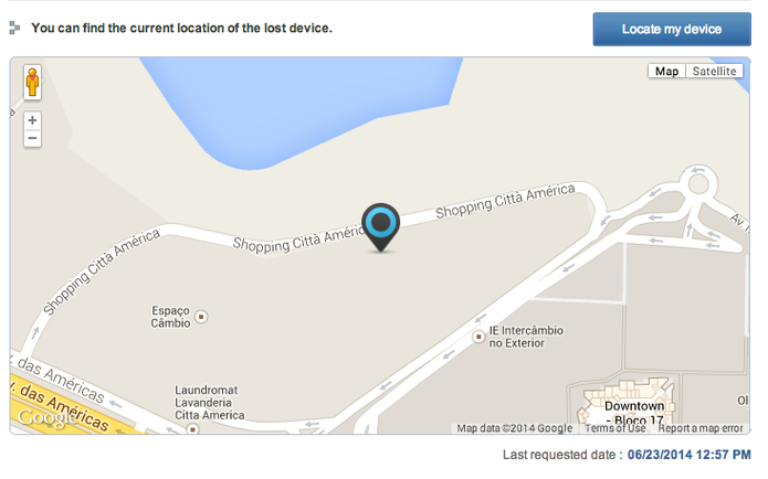 Localização do Galaxy S4 perdido (Foto: Reprodução)