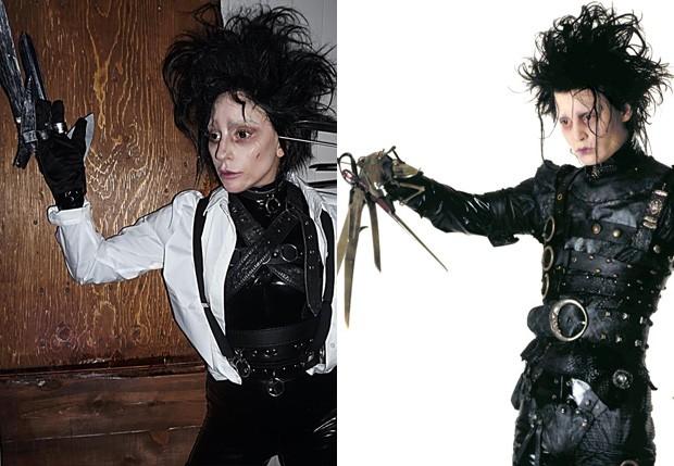 Lady Gaga fantasiada de Edward Mãos de Tesoura (Foto: Reprodução)