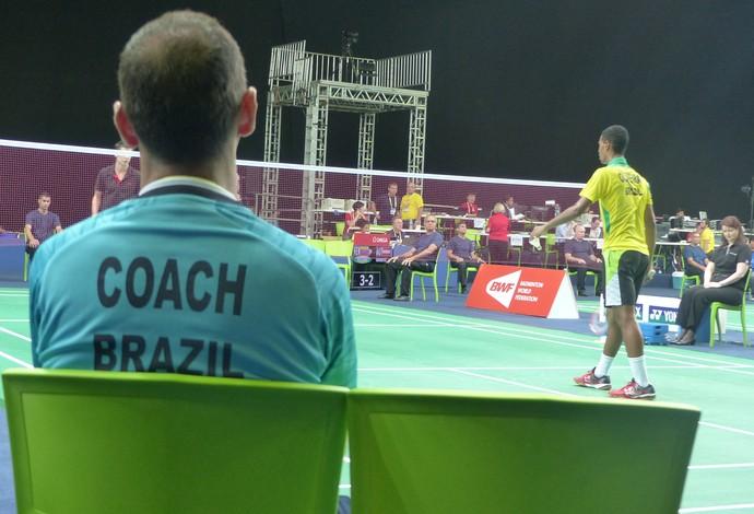 Marco Vasconcelos, Ygor Coelho, evento-teste, badminton (Foto: Matheus Tibúrcio)