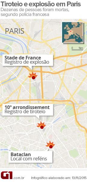 Tiroteios em Paris deixam mortos; houve explosões e há reféns (Foto: Arte/G1)