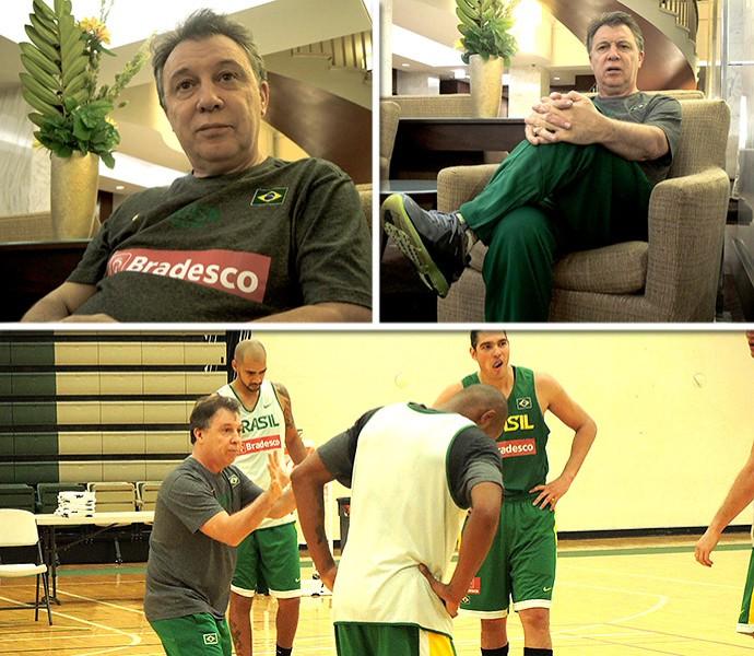 montagem Rubén Magnano basquete seleção (Foto: Editoria de Arte)