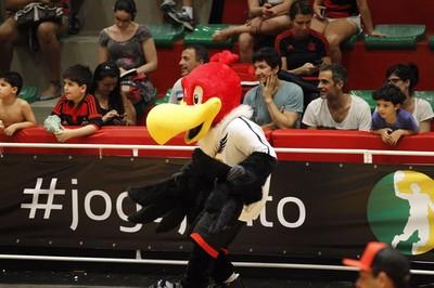 Urubu Rei está sempre com o time de basquete no NBB (Foto: Divulgação)