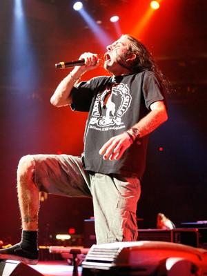 Randy Blythe, do Lamb of God, em show no Madison Square Garden, em Nova York, em 14 de November de 2009 (Foto: Cory Schwartz / Getty Images / AFP)