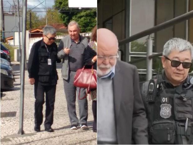 Newton apareceu recentemente fazendo a escolta do ex-presidente da OAS Léo Pinheiro e do pecuarista Bumlai  (Foto: Ana Zimmerman / RPC e reprodução)