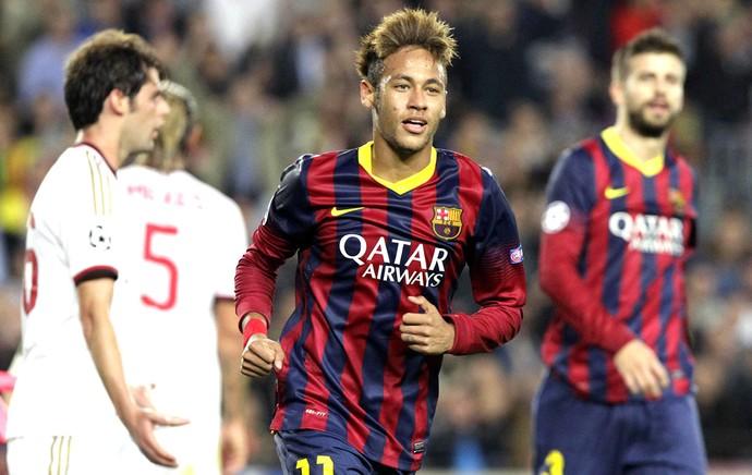 Neymar jogo Barcelona e Milan Liga dos Campeões (Foto: EFE)