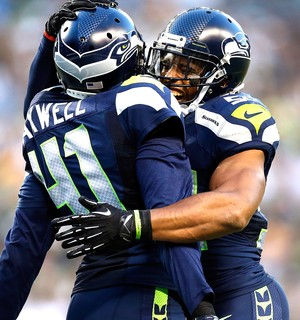 Bobby Wagner e Byron Maxwell, Comemoração do Seattle Seahawks contra o Green Bay Packers (Foto: Getty Images)