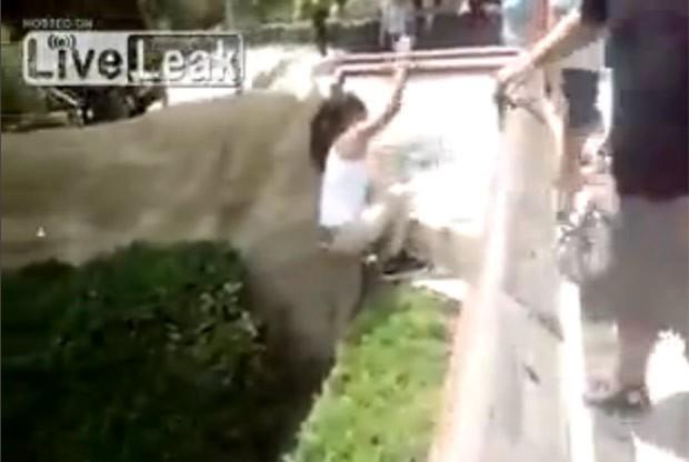 Por sorte, mulher conseguiu sair ilesa após invadir recinto de crocodilo (Foto: Reprodução/LiveLeak)