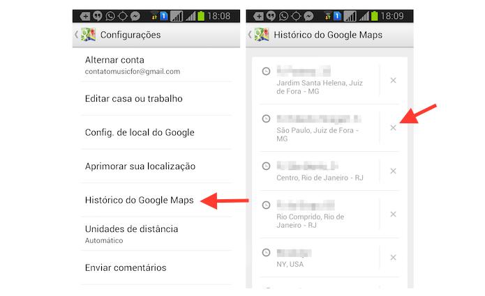 Iniciando a ação para deletar pesquisas no histórico do Google Maps no Android (Foto: Reprodução/Marvin Costa)