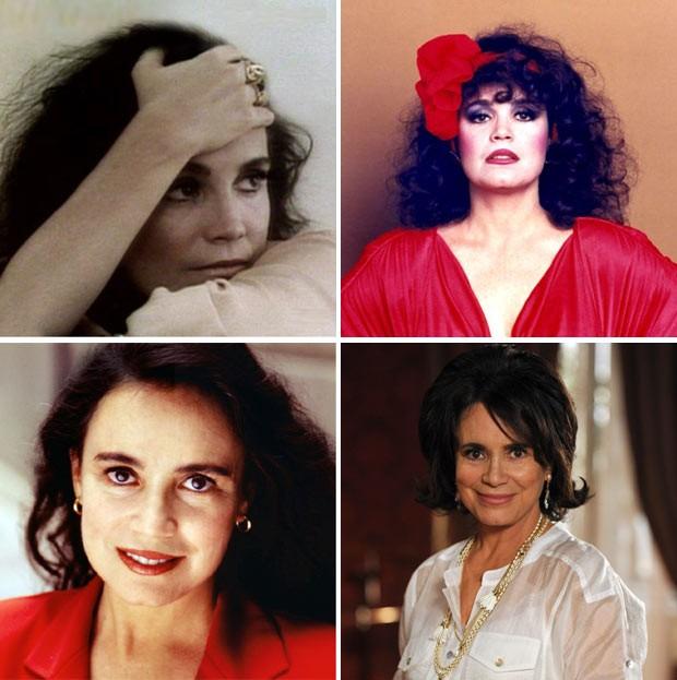 """Quatro facetas de Regina Duarte na TV: no alto, como a Malu do seriado """"Malu Mulher"""" (1979) e como a Viúva Porcina de """"Roque Santeiro"""" (1985); abaixo, a atriz na pele de uma de suas Helenas, em """"História de Amor"""" (1995) e Clô Hayalla, do remake """"O Astro"""" (2011) (Foto: Divulgação)"""