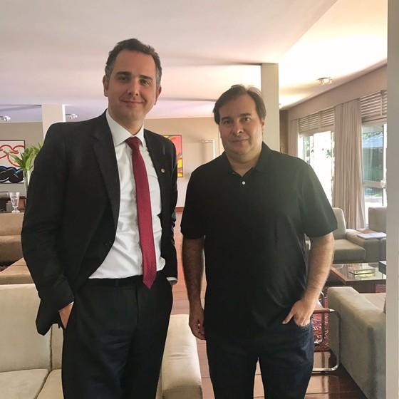 Rodrio Maia e Rodrigo Pacheco firmam aliança de apoio mútuo para eleições 2018 (Foto: Reprodução)