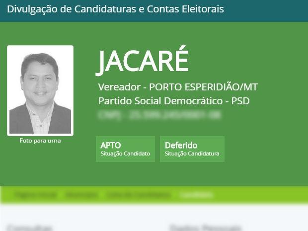 Jovanil Salvaterra de Carvalho (PSD) (Foto: Reprodução/TRE-MT)