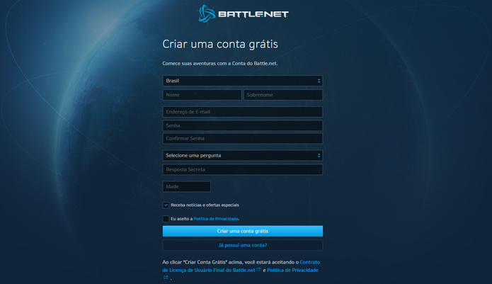 Registre a sua conta na Battle.net para jogar HearthStone (Foto: Reprodução/Caio Fagundes)