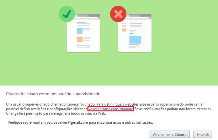 Acesse o link exibido na janela para configurar o usuário (Foto: Reprodução/Paulo Alves)