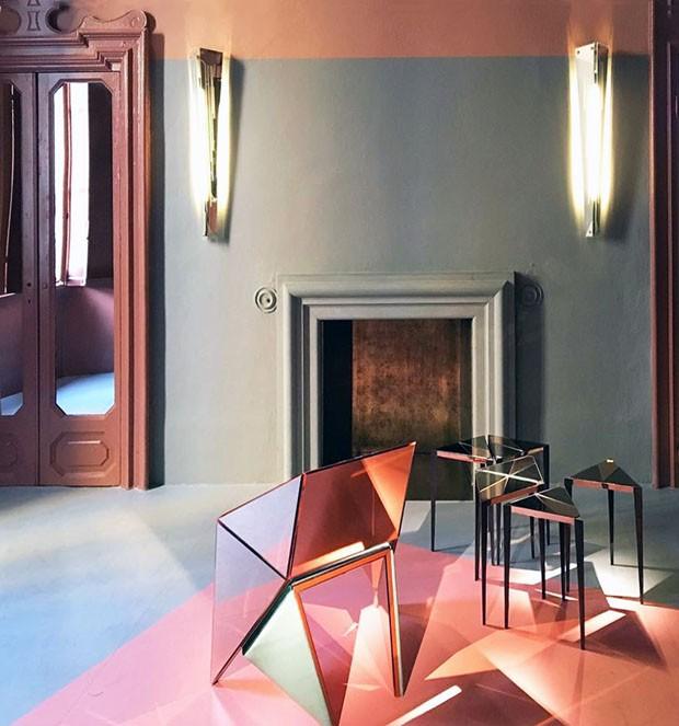 Décor do dia: sala de estar vintage com tons pastel e geometrias (Foto: reprodução)