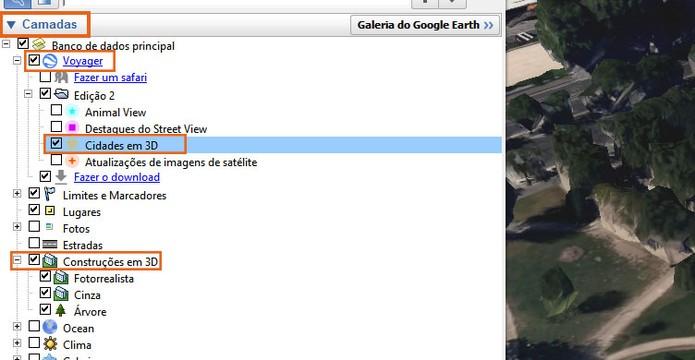 Marque as opções de Voyager em Camadas do Google Earth (Foto: Reprodução/Barbara Mannara)