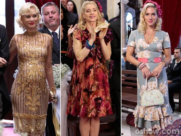 Aurora, Lola e Cristina em seus respectivos visuais no casório (Foto: Felipe Monteiro/TV Globo)