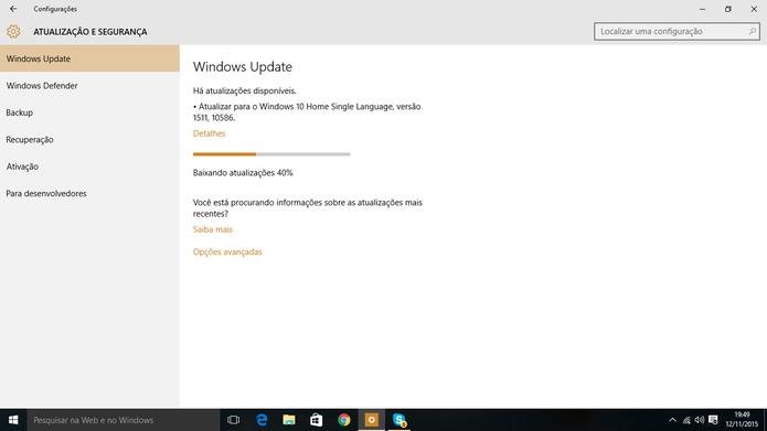 Windows 10 pode ter primeira atualização baixada através do Windows Update (Foto: Reprodução/Elson de Souza)