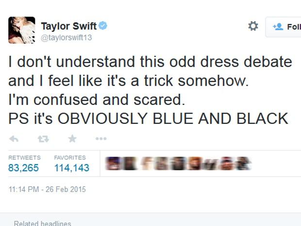 Taylor Swift se mostra revoltada com a polêmica cor do vestido (Foto: Reprodução/Twitter)