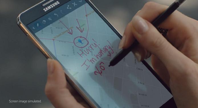 Vídeo mostra S-Pen, mas alerta que imagem na tela é simulada (Foto: Divulgação)