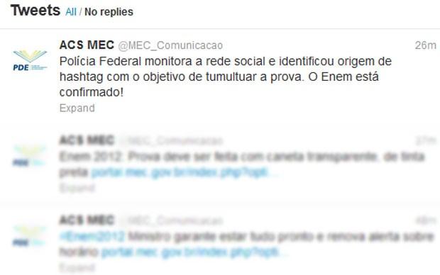 MEC publica mensagem no Twitter confirmando prova do Enem 2012 (Foto: Reprodução/Twitter)