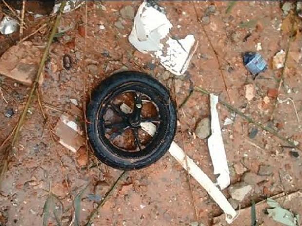 Rodas são de carrinho de bebê, segundo a polícia (Foto: Divulgação/Polícia Civil)