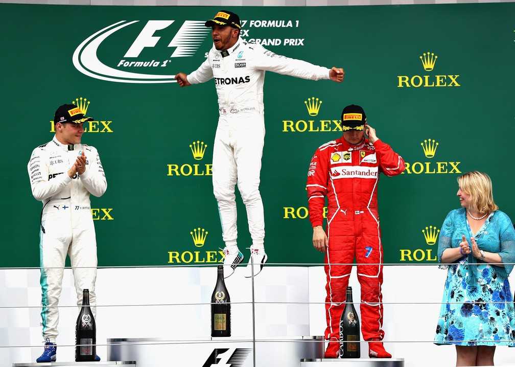 O pódio do GP da Inglaterra (Foto: Getty Images)