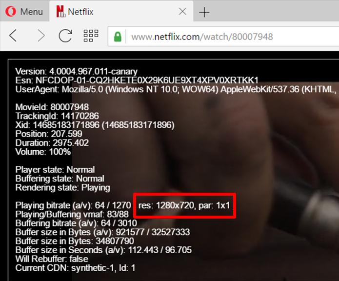 Compartilhando a mesma base do Chrome, o Opera também reproduz Netflix a 720p (Foto: Reprodução/Filipe Garrett)