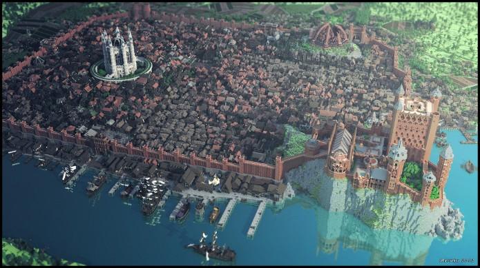 Minecraft está ganhando uma reprodução de Westeros, continente de Game of Thrones. Na foto, Kings Landing (Foto: Divulgação)
