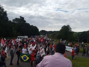 Protesto no trevo da BR-282 com a BR-158 em Maravilha (Foto: PRF/Divulgação)