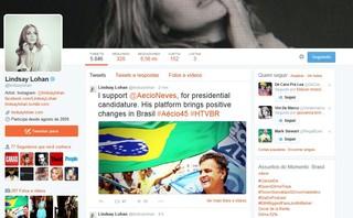 O post de Lindsay Lohan sobre Aécio Neves (Foto: Reprodução/ Twitter)