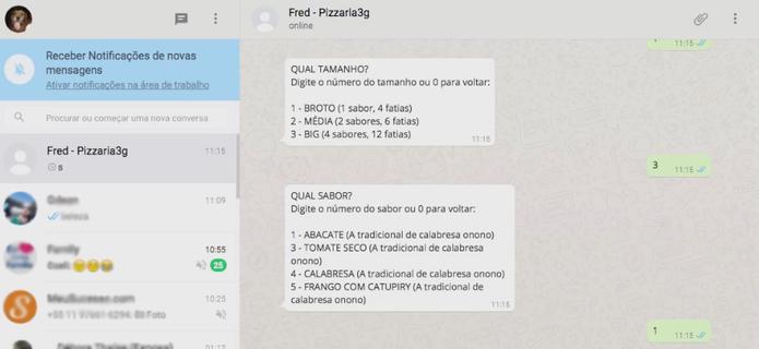 Os pedidos pelo WhatsApp têm funcionamento semelhante ao serviço telefônico (Foto: Reprodução)