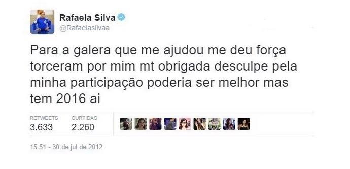 Post de Rafaela Silva no Twitter agradecendo apoio em 2012 e fazendo previsão para 2016 (Foto: Reprodução de Twitter)